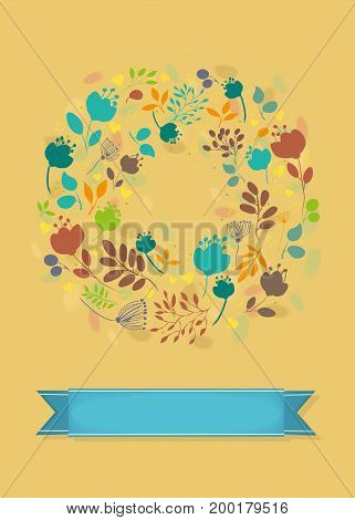 Graceful Floral Greeting Card. Ring of autumn flowers and plants. Blue banner for custom text. Yellow background