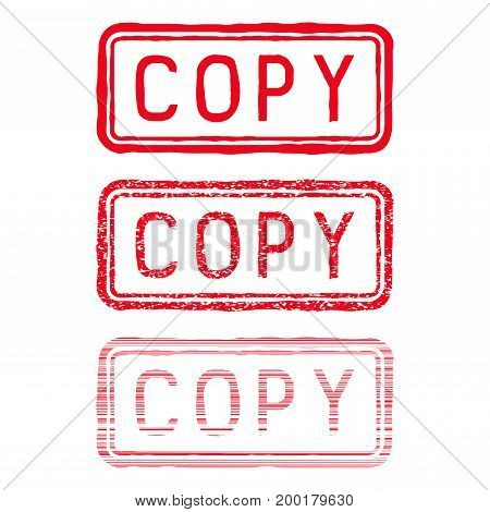 COPY stamp. Red rectangular impress. Vector illustration isolated on white background