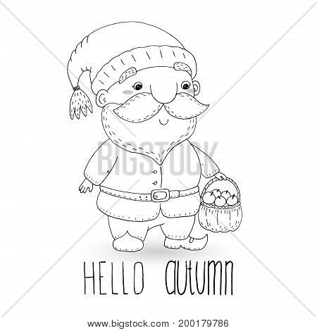 coloring book with Hand drawn cute cartoon gnome. vector illustration.