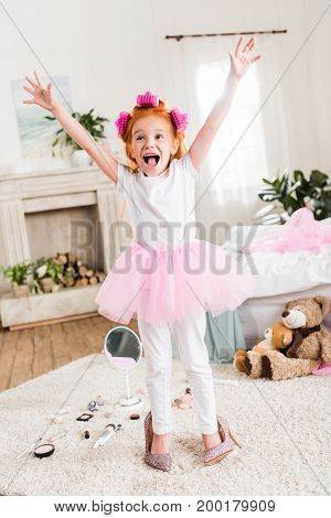 Excited Little Girl In High Heels