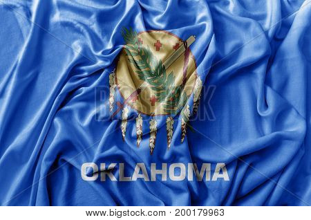 Ruffled waving United States Oklahoma flag national