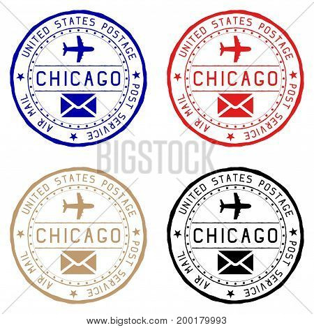 Chicago mail stamps. Colored set of round impress. Vector illustration isolated on white background
