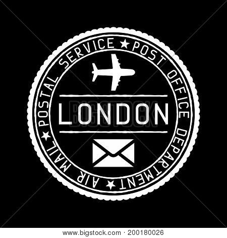 London mail stamp. Air mail postage service. Vector illustration on black background