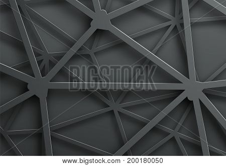 Abstract Dark Background With Pattern Of Cobweb Of Metal Lines With Intersection