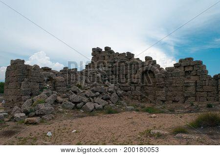 Ancient Side city agora. Side, Antalya province, Turkey