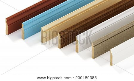 Baseboards With Various Profiles Isolated On White Background. 3D Illustration