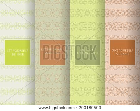 Set Of Seamless Patterns In Light Pale Colors. Collection Of Simple, Minimalistic Vector Backgrounds