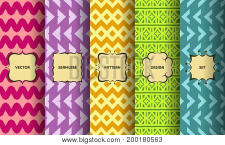 Set Of Seamless Patterns. Collection Of Bright Colorful Vector Backgrounds And Vintage Labels. Vecto