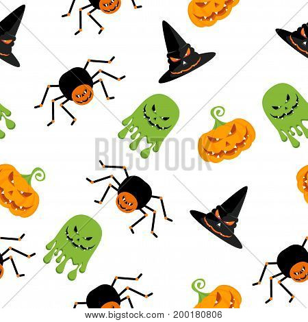 Halloween seamless pattern. Festive decoration of advertising and congratulatory products. Flat vector cartoon illustration. Objects isolated on white background.