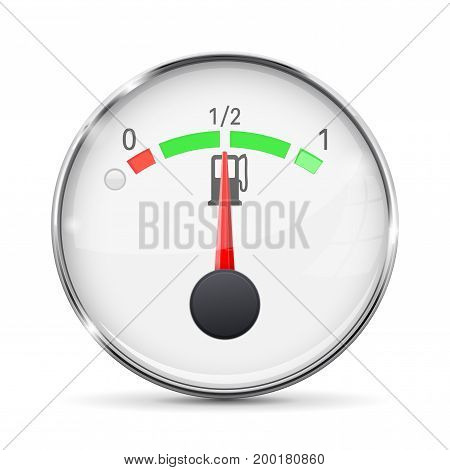 Fuel gauge with metal frame. Half tank. Vector illustration on white background