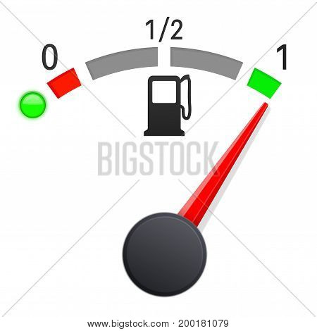 Fuel gauge indication. Full tank. Vector illustration on white background