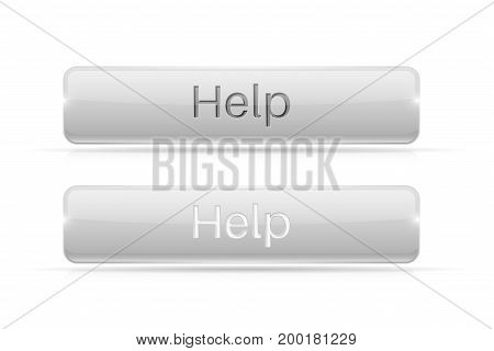 White button HELP. Active and normal. Vector illustration isolated on white background