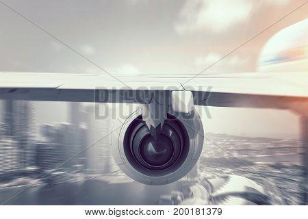 Close of airplane in sky. Mixed media . Mixed media