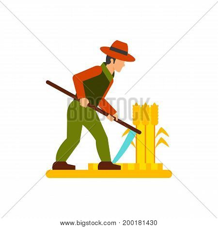 Icon of man mowing grass. Wheat, harvesting, scything. Agriculture concept. Can be used for topics like  agronomy, occupation, farming