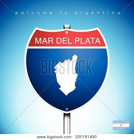 An Sign Road America Style with state of Agentina with blue background and message MAR DEL PLATA and map vector art image illustration