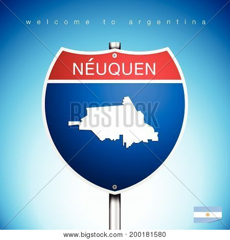 An Sign Road America Style with state of Agentina with blue background and message NEUQUEN and map vector art image illustration