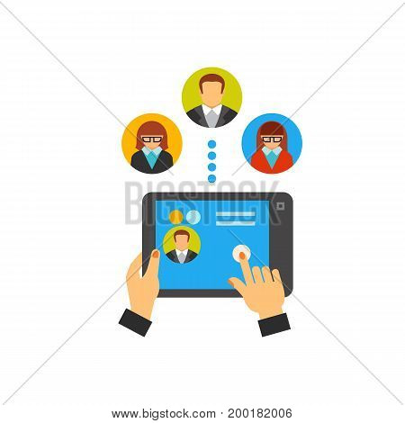 Icon of remote team. Connection, digital tablet, technology. Teamwork concept. Can be used for topics like cooperation, online conferencing, correspondence