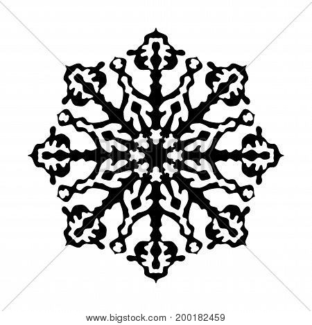 Snowflake black icon. Festive decoration of advertising and congratulatory christmas and new year products. Flat vector cartoon illustration. Objects isolated on a white background.