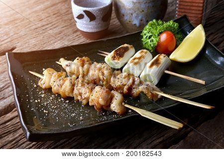 Chicken Skin Grilled Or Torikawa Yakitori.