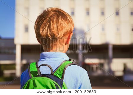 little boy with backpack go to school, back to school