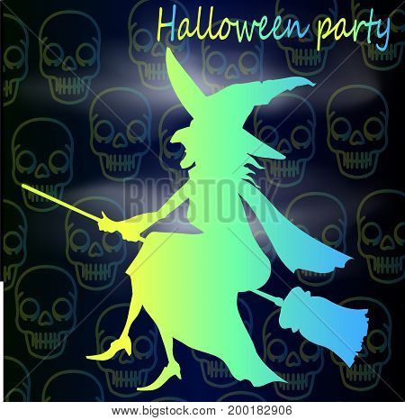 Bright style Halloween poster - neon witch in a hat and a broomstick and a skull pattern