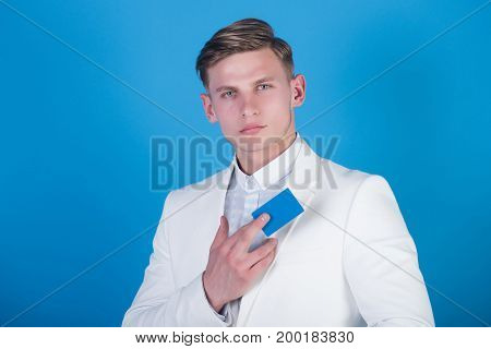 Manager Wearing Casual Suit On Blue Background