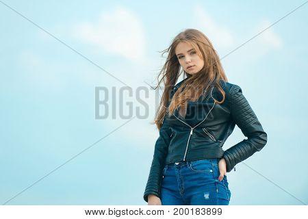 Fashion Model On Blue Sky.