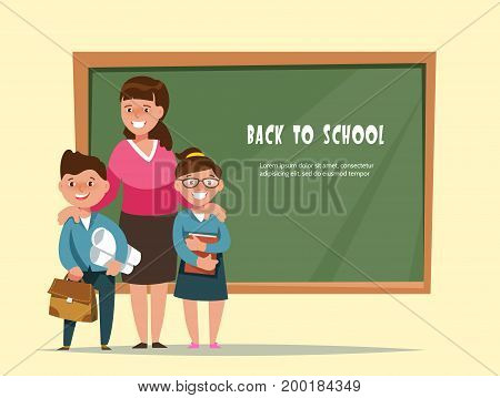 Vector illustration group elementary school boy and girl and teacher in classroom in cartoon style. The design concept postcard back to school