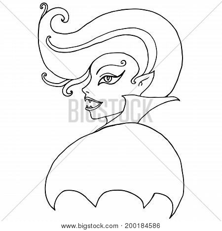 Black and white face girl vampire isolated. Halloween illustration.Vector hand drawn.Color page for adults and children. Book textile print poster design sticker card