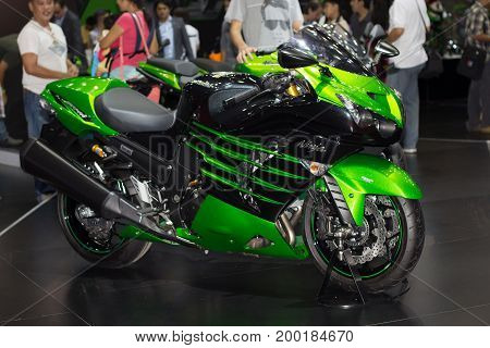 Bangkok Thailand - March 28 2014: Kawasaki motorcycle new model presented in Bangkok Motor Show 2014