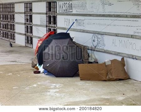 Dirty poverty poornes homeles in Barcelona spain