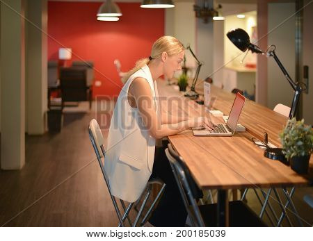 Business Blonde Girl Working Late, Using A Laptop In An Office