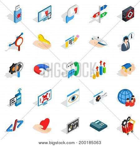 Game dev icons set. Isometric set of 25 game dev vector icons for web isolated on white background