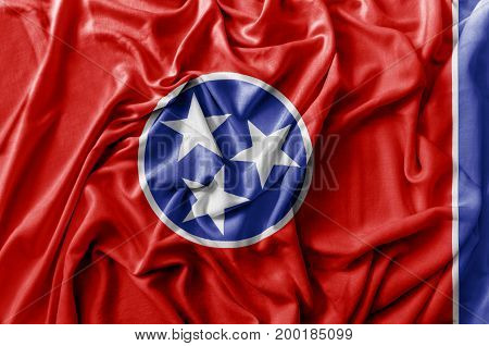Ruffled waving United States Tennessee flag national