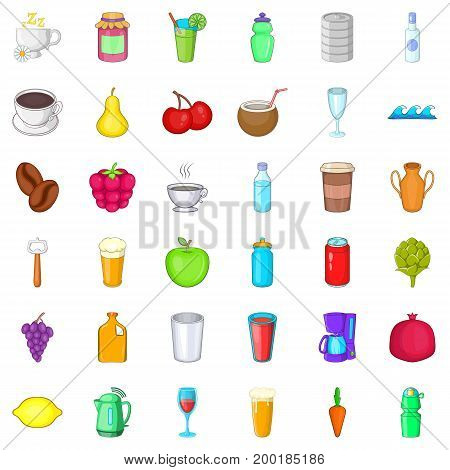 Tasty drink icons set. Cartoon style of 36 tasty drink vector icons for web isolated on white background
