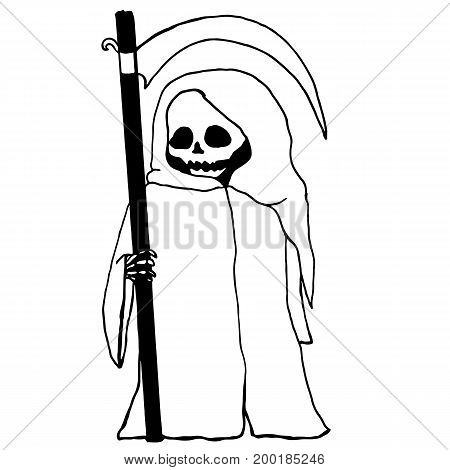 Black and white cartoon funny grim reaper isolated. Halloween illustration.Vector hand drawn.Color page for adults and children. Book textile print poster design sticker card