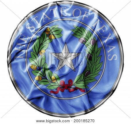 Ruffled waving United States Texas Seal flag