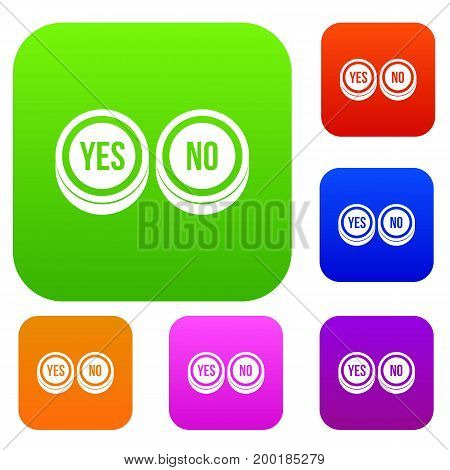 Round signs yes and no set icon in different colors isolated vector illustration. Premium collection