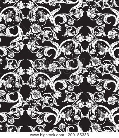 Old Slavic vintage ornament flowers black and white seamless pattern. Monochrome vector illustration. EPS8