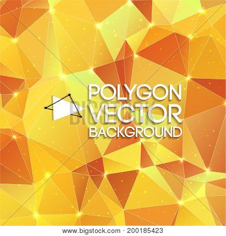 Abstract polygon triangle vector background in futuristic style with bright dots and shadows vector illustration