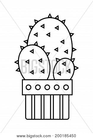 Cactus, succulent. Flat linear icon, illustration of potted plant isolated on white background. Object for design
