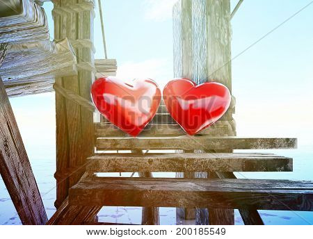 Love is all around! Heart symbols made on the background of sky and sea. Valentine's Day. 3D illustration