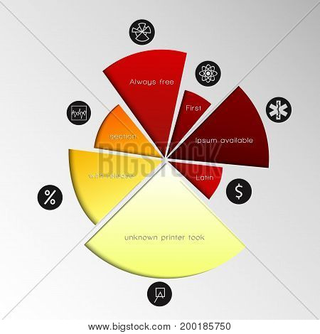 Gradient pie chart with the cut pieces and description of each part in black circles vector illustration