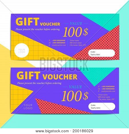 Trendy Abstract Gift Voucher Card Templates. Modern Discount Coupon Or Certificate Layout With Memph