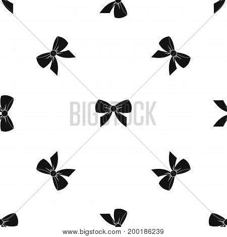 Bow pattern repeat seamless in black color for any design. Vector geometric illustration