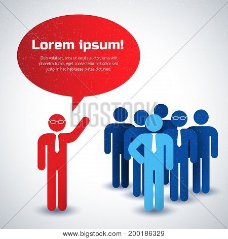 Silhouette business people collective and chief concept in red and blue colors flat vector illustration