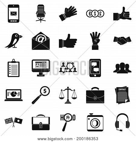 Dialogue icons set. Simple set of 25 dialogue vector icons for web isolated on white background