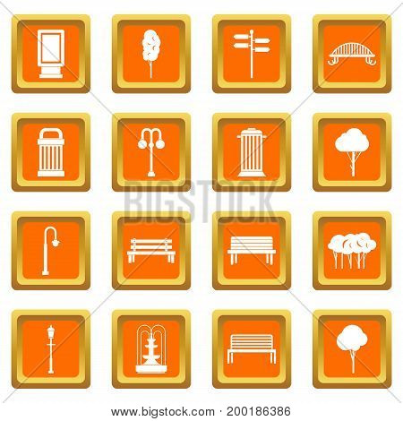Park icons set in orange color isolated vector illustration for web and any design