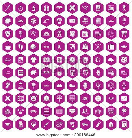 100 time icons set in violet hexagon isolated vector illustration