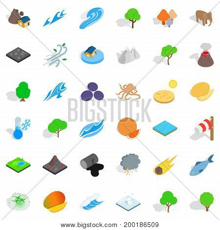 Our earth icons set. Isometric style of 36 our earth vector icons for web isolated on white background